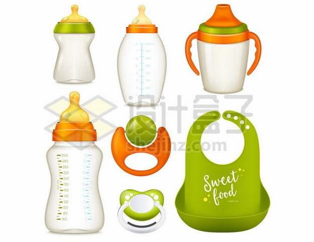 绿色和橙色宝宝婴儿奶瓶玻璃奶瓶育儿用品774761eps矢量图片素材