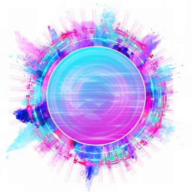 绚丽的彩色圆环涂鸦装饰文本框标题框272535png图片素材