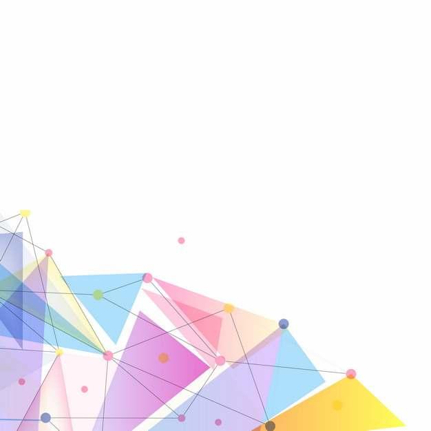 彩色三角形和点线装饰图案125454png图片素材