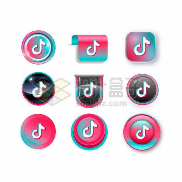 9款彩色抖音TikTok标志logo图标按钮812562矢量图片免抠素材