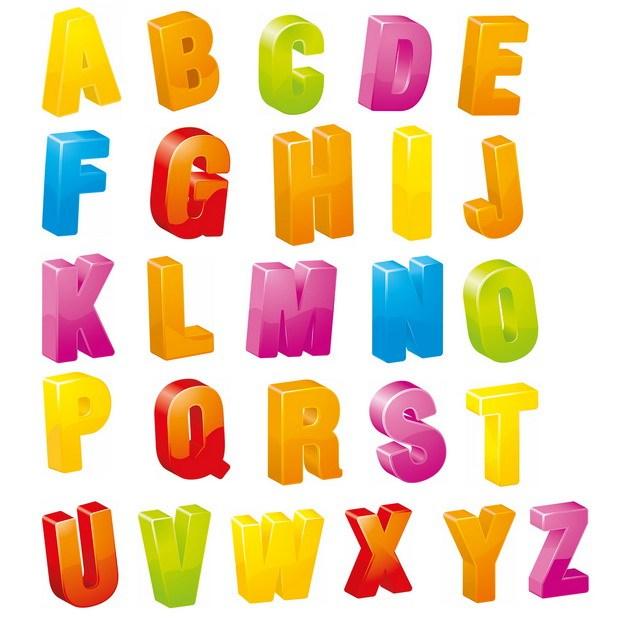 糖果色3D立体卡通风格26个英文字母821942png图片素材 字体素材-第1张