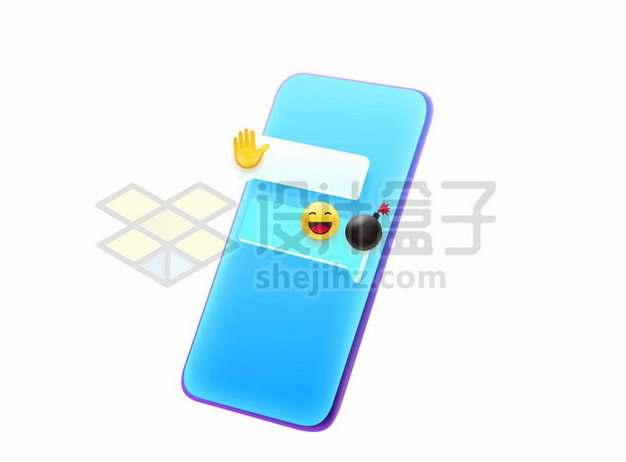 蓝色的手机上聊天APP界面196401eps矢量图片素材