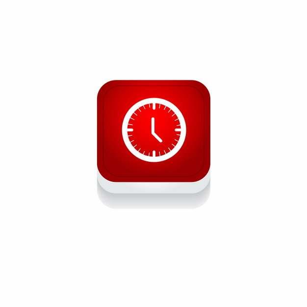 红色时钟钟表时间3D立体圆角图标844937免抠图片素材