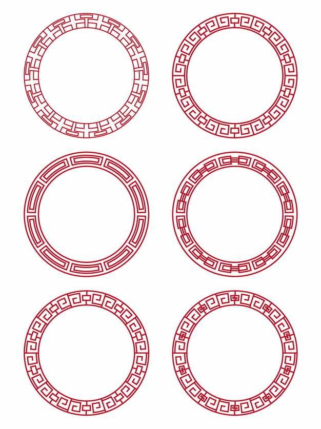 六款中国风图案红色圆环228976矢量图片素材