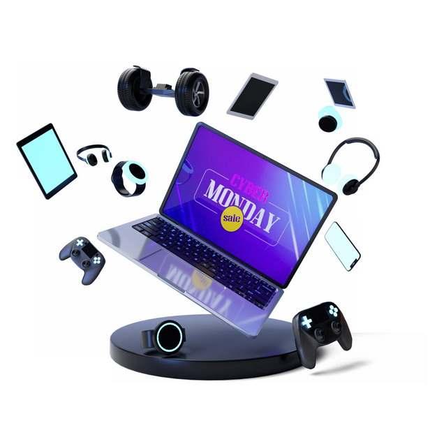 网上购物节的飞舞的平衡车笔记本电脑手机耳机游戏机等341936图片素材
