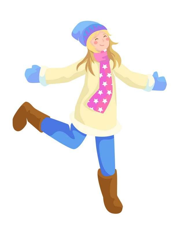 冬天身穿厚厚衣物的卡通女孩子874881图片素材