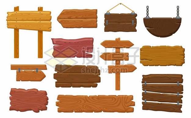 十二款木制指示牌木牌913081图片免抠矢量素材