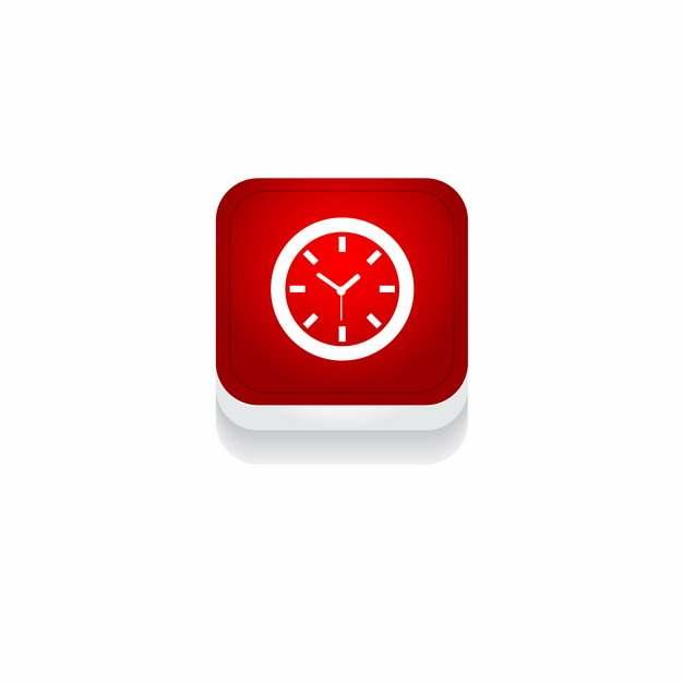 红色时钟钟表时间3D立体圆角图标411536免抠图片素材