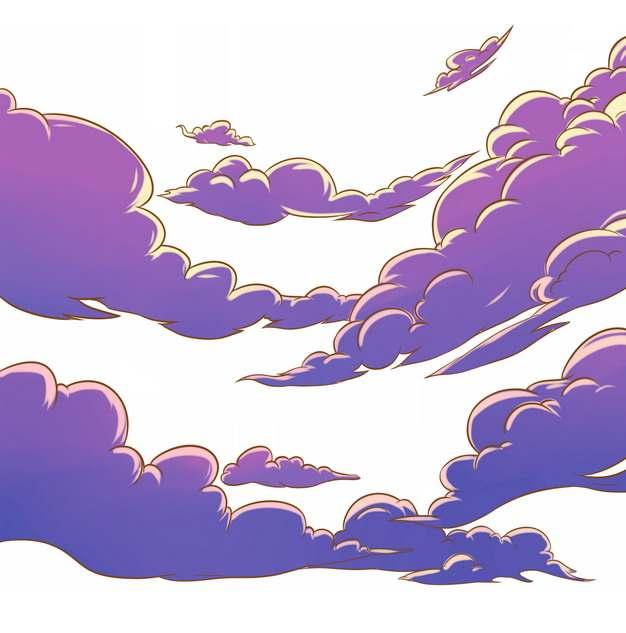 日式漫画风格的紫色云朵云彩767699图片素材
