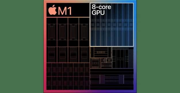 苹果MacBook最新处理器Apple M1芯片结构图片3234547免抠素材