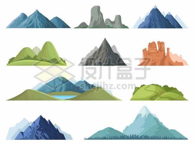 十款大山高山青山山脉等332916图片免抠矢量素材