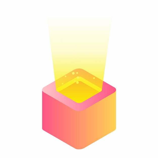 发出黄光的立方体盒子扁平插画540783矢量图片素材