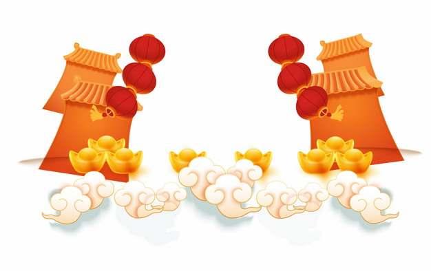 新年春节祥云图案和红色灯笼装饰702810图片素材