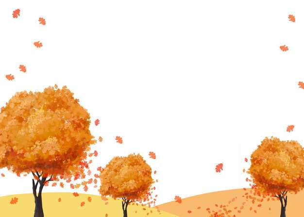 秋天里变红的大树和飞舞的树叶128551png图片素材