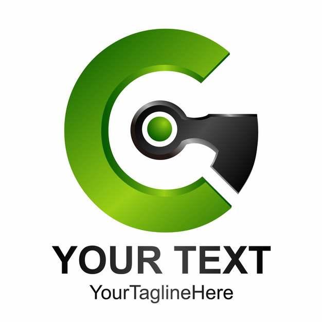 创意字母G绿色黑色科技风格LOGO设计元素159907图片免抠素材