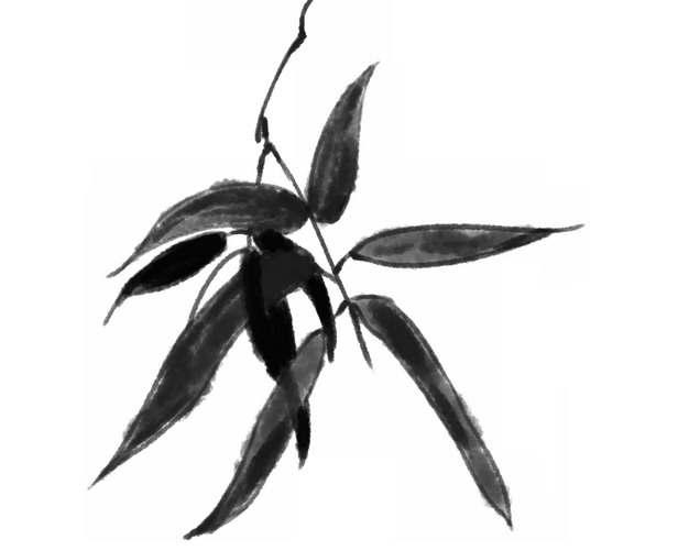 黑色竹叶水墨画毛笔画934929png图片素材