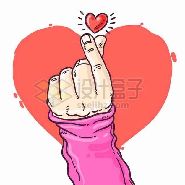 大拇指食指单手比心手势和红心图案手绘插画228117矢量图片免抠素材 休闲娱乐-第1张