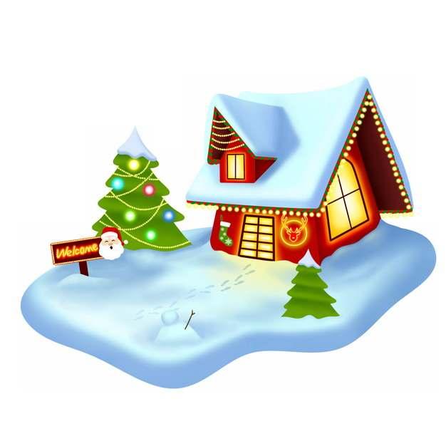 冬天圣诞节大雪积雪后的北欧房子雪松和雪人232972png图片素材