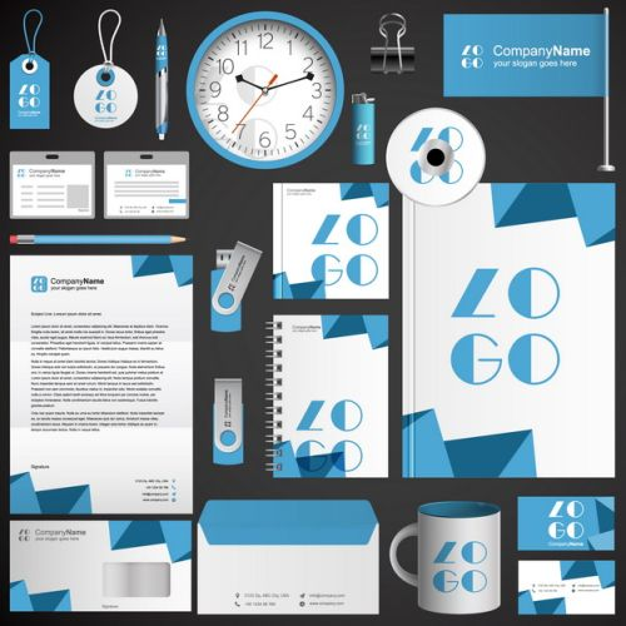 蓝色公司企业文件合同信件时钟打火机U盘杯子名片等VI设计模板239046图片素材