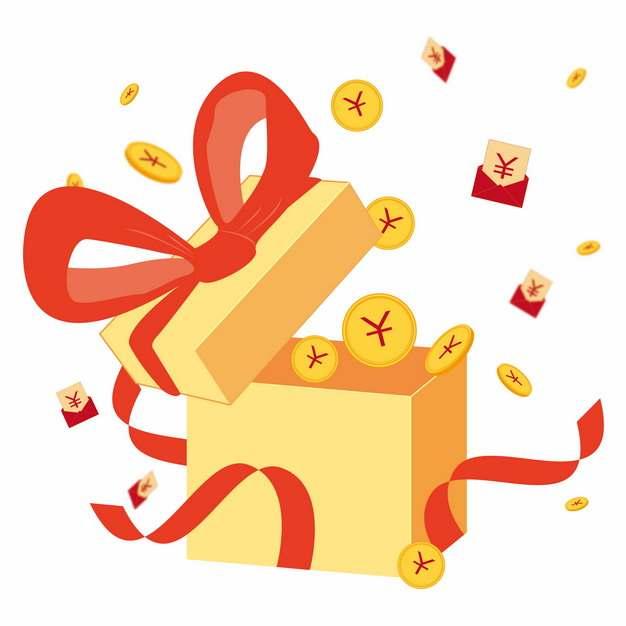 打开的红色礼物盒中飞出的金币和红包大礼包366897图片素材