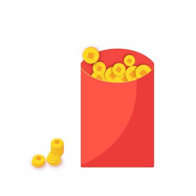 金币和新年淘宝电商红包扁平插画527413矢量图片素材