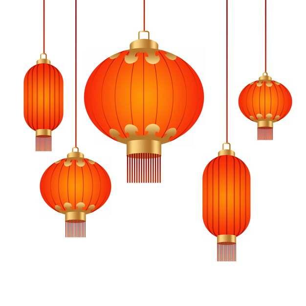 新年春节里各种形状的大红灯笼998878png图片素材