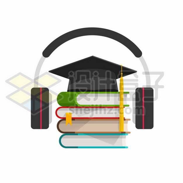扁平化风格博士帽书本和耳机听书APP软件有声小说557293eps矢量图片素材