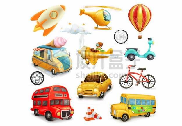 卡通火箭直升机热气球巴士飞机摩托车自行车小汽车大巴车校车等交通工具302993图片免抠矢量素材