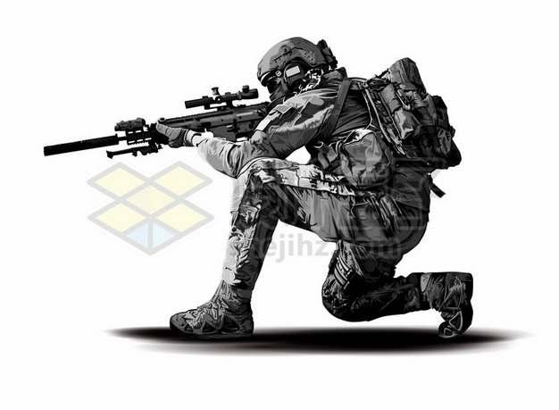 端着狙击步枪瞄准的特种兵士兵769129eps矢量图片素材
