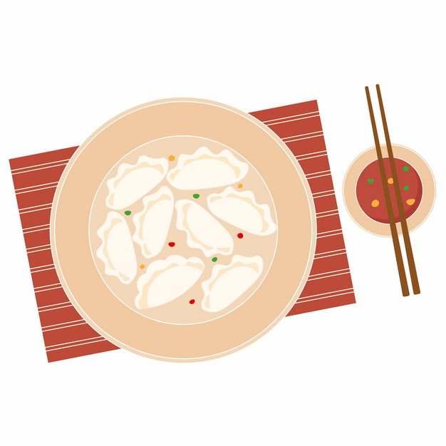 扁平化风格一盘饺子和蘸酱232933免抠图片