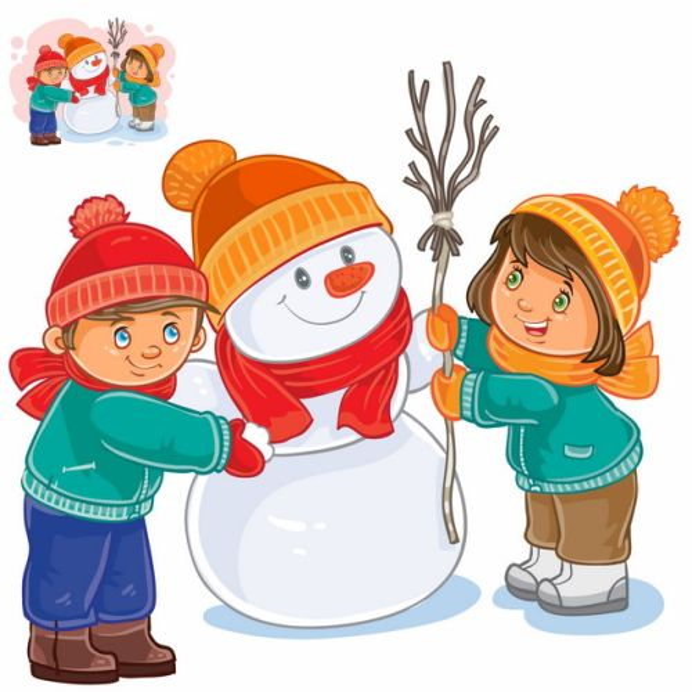 正在堆雪人的卡通小朋友插画770176图片素材