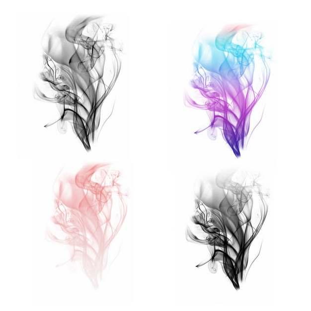 四款黑烟浓烟和彩色烟雾效果648863png图片素材