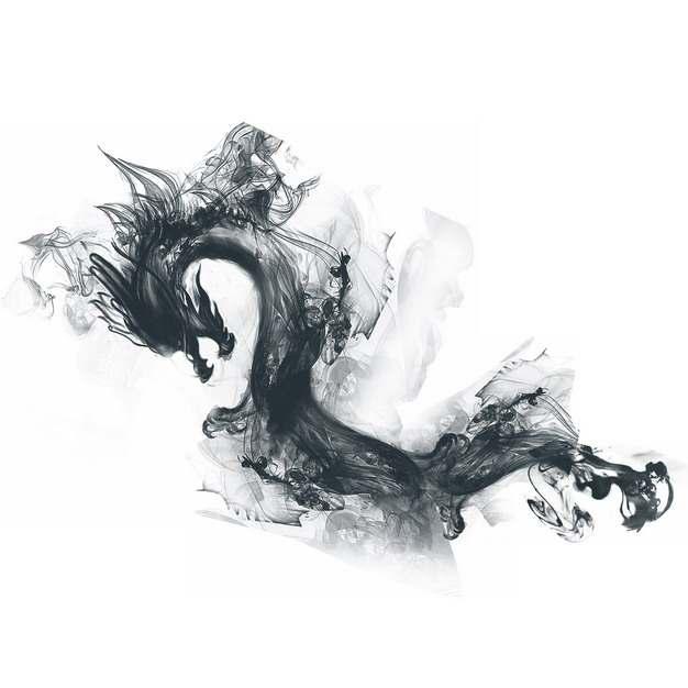 抽象的中国龙烟雾效果水墨画898467PNG图片素材