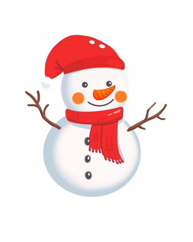 系着红围巾的可爱卡通雪人104395图片素材