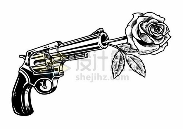 手枪枪管中插上玫瑰花黑白色插画476809eps矢量图片素材