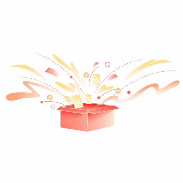 爆炸发散的礼品盒礼物盒飞出电商红包优惠券金币739682图片免抠素材
