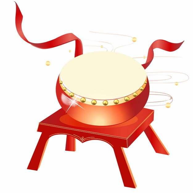 红色的大鼓和飘带478265图片免抠素材