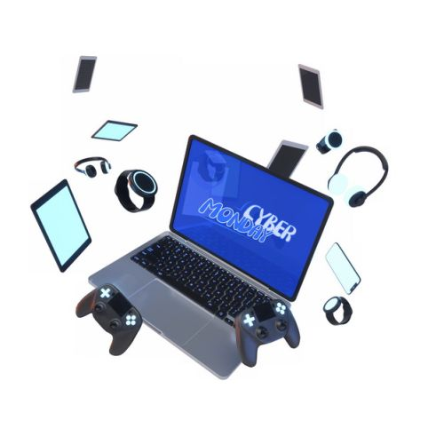 网上购物节的飞舞的笔记本电脑手机耳机游戏机手柄等808903图片素材