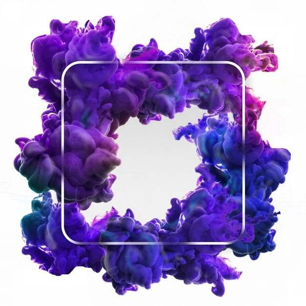 绚丽的白色方框和紫色的烟雾浓烟效果972921png图片素材