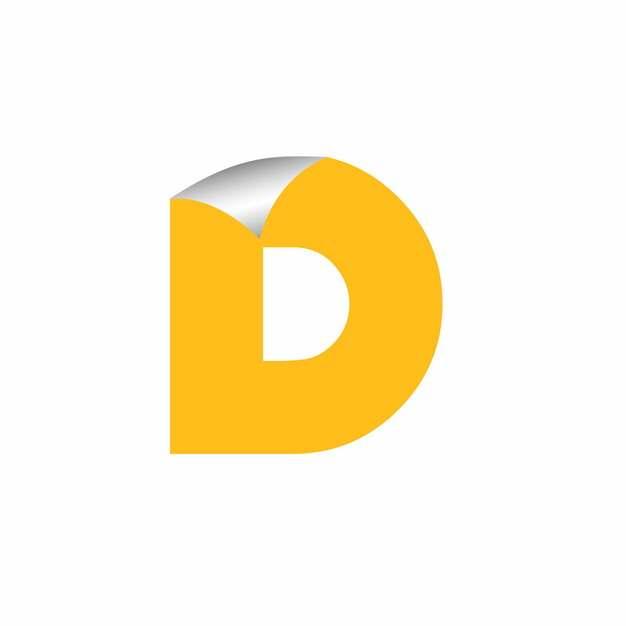 3D立体翘边贴纸黄色大写字母D字体logo设计448584EPS免抠图片素材