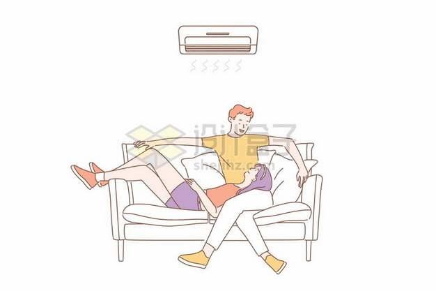 炎热的夏天情侣坐在沙发上吹空调纳凉177769矢量图片免抠素材