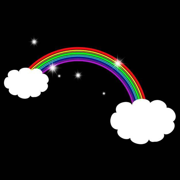卡通白云和七彩虹装饰886070png图片素材