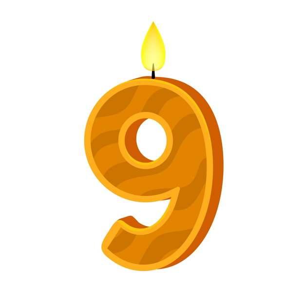 九周岁生日快乐生日蜡烛数字蜡烛315650免抠图片素材