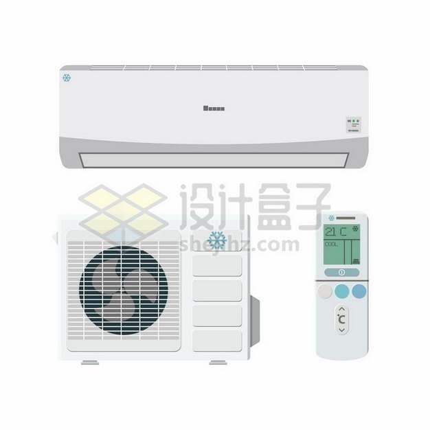 空调外机和室内机遥控器752403矢量图片免抠素材
