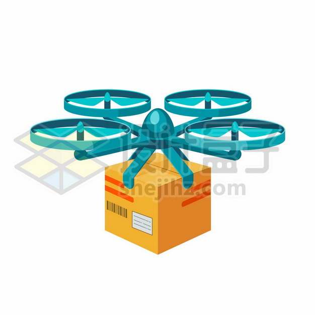 蓝色的卡通快递无人机正在送货263780图片免抠矢量素材