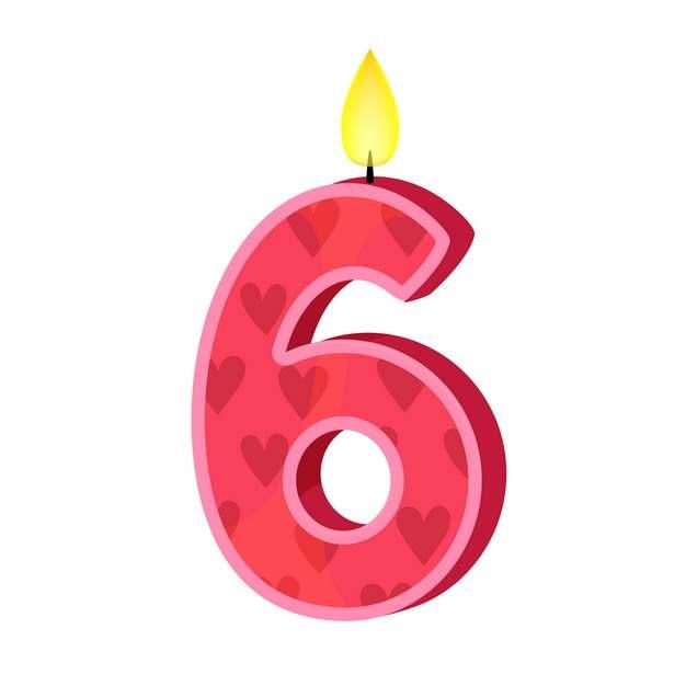 六周岁生日快乐生日蜡烛数字蜡烛469519免抠图片素材