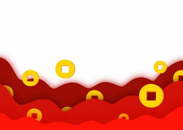 红色中国风云朵和金币铜钱图案563394图片素材