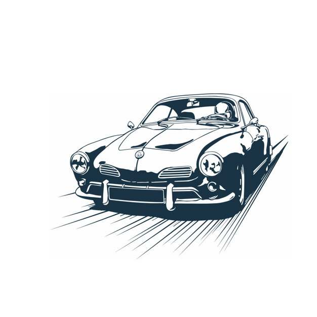 飞驰的汽车老爷车手绘插画659934图片素材