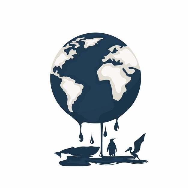 融化的地球渗出石油滴在动物身上象征了海洋污染969094png图片素材