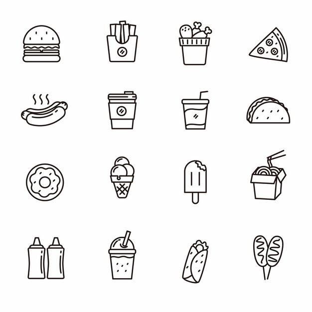 汉堡薯条肯德基全家桶披萨热狗咖啡奶茶冰淇淋等西餐黑色线条图标114109免抠图片素材 图标-第1张